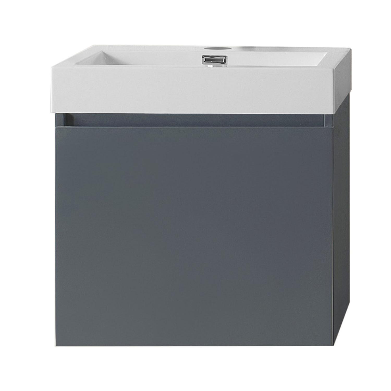 Virtu JS-50324-GR-PRTSET1 Zuri 24 Inch Single Bathroom Vanity Set In Grey