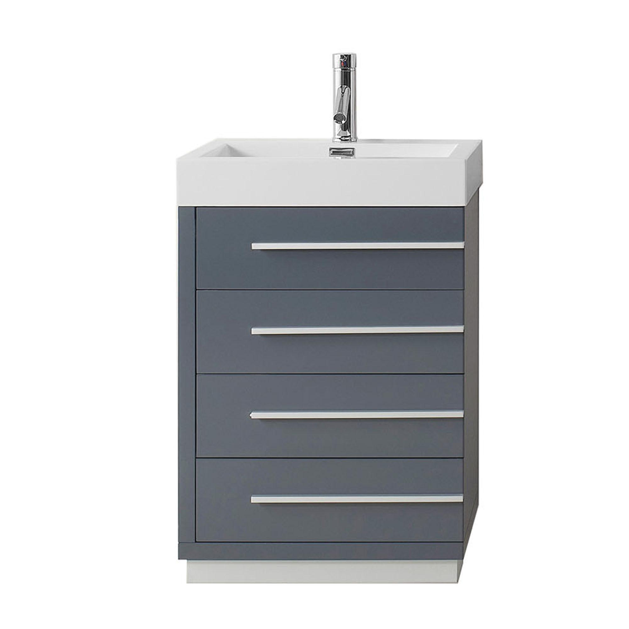 Virtu JS-50524-GR-PRTSET1 Bailey 24 Inch Single Bathroom Vanity Set In Grey