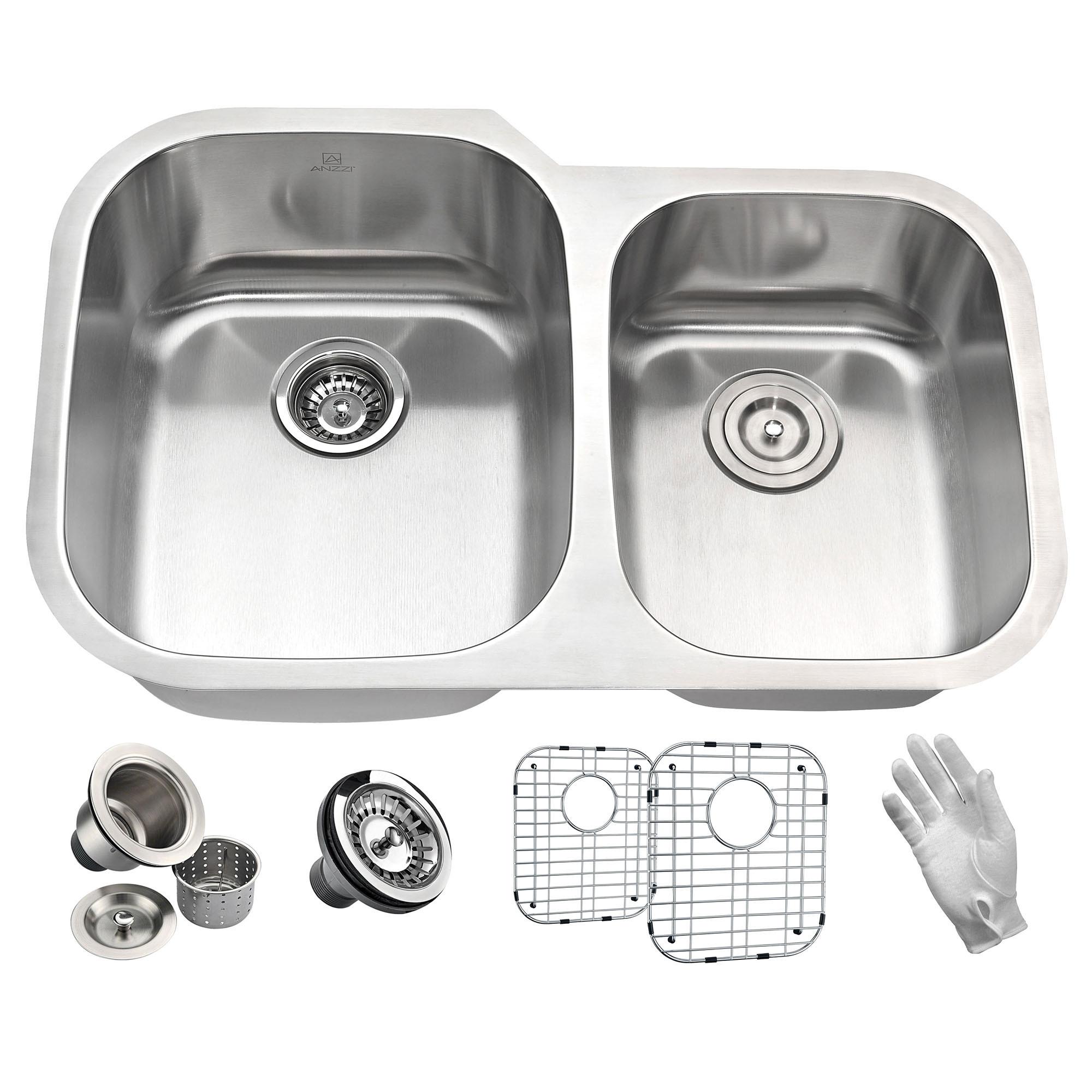 "ANZZI K-AZ3220-3B Moore Steel 32"" Double Bowl Kitchen Sink In Brushed Satin"