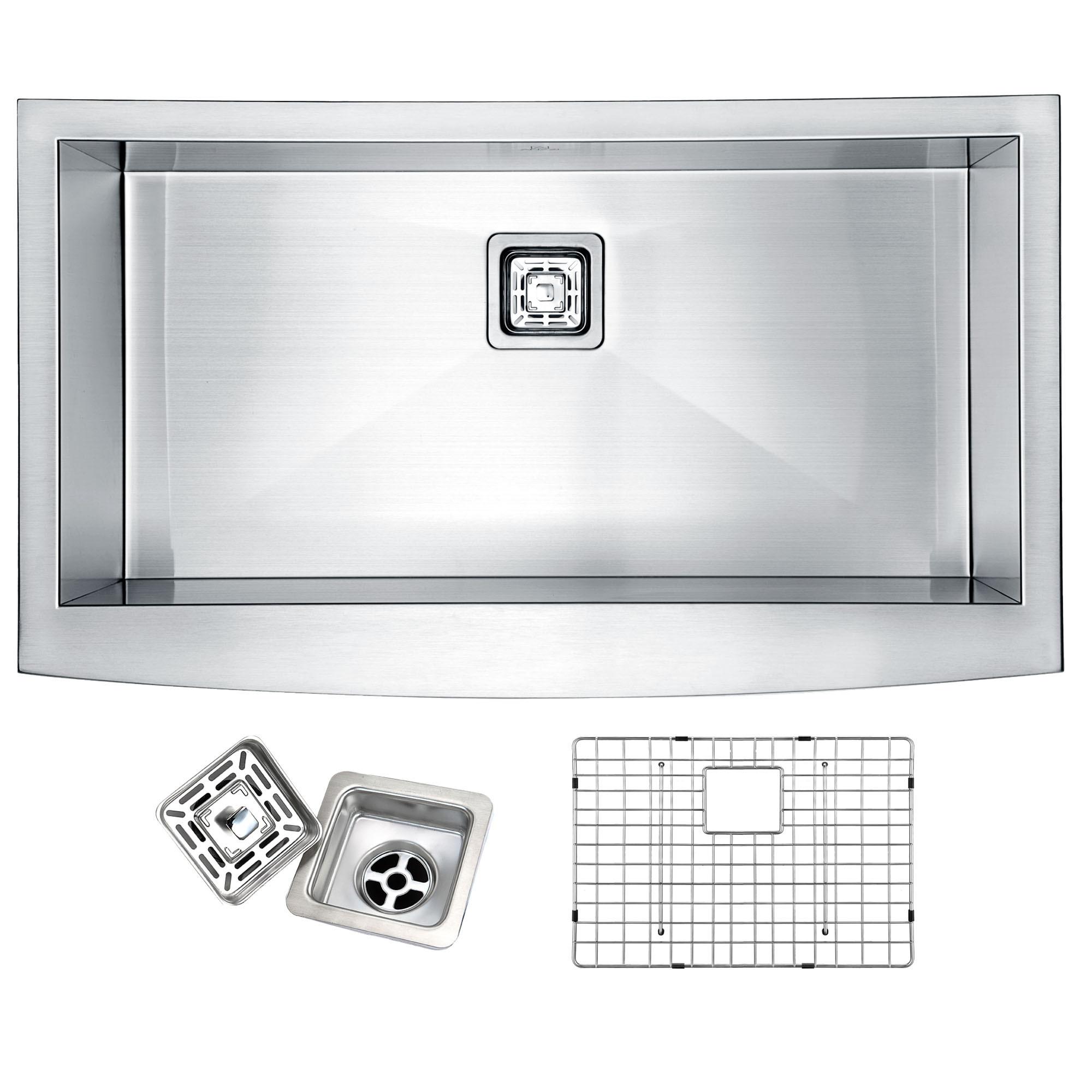 ANZZI K-AZ3320-1AS Elysian Farm Single Bowl Kitchen Sink In Brushed Satin