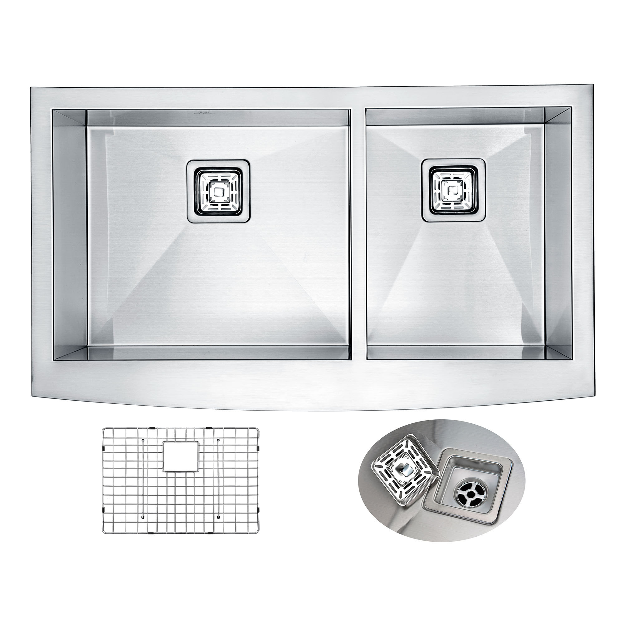ANZZI K-AZ3320-4AS Elysian Farm 60/40 Double Kitchen Sink In Brushed Satin