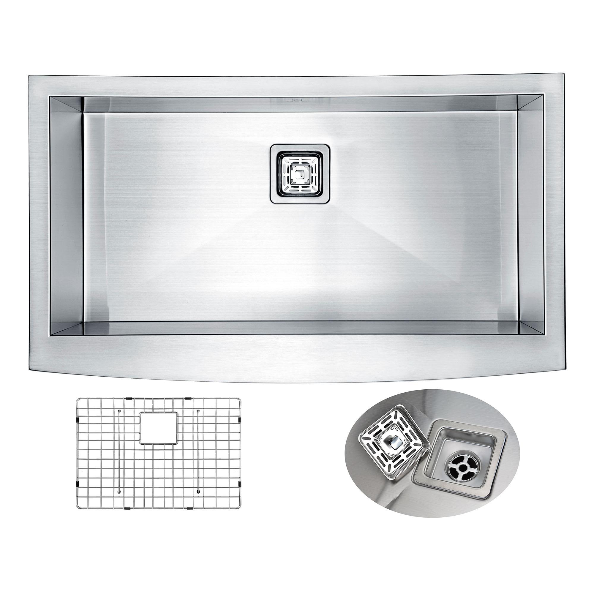 ANZZI K-AZ3620-1AS Elysian Farm 36 Inch Single KitchenSink In Brushed Satin