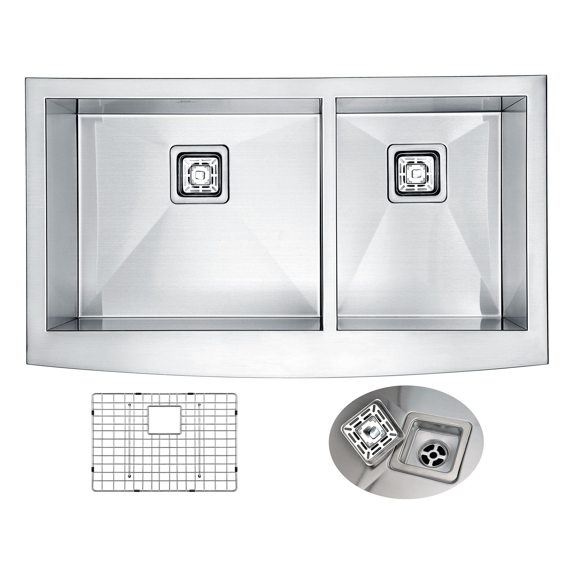 ANZZI K-AZ3620-3AS Elysian Farm 36 Inch Double KitchenSink In Brushed Satin