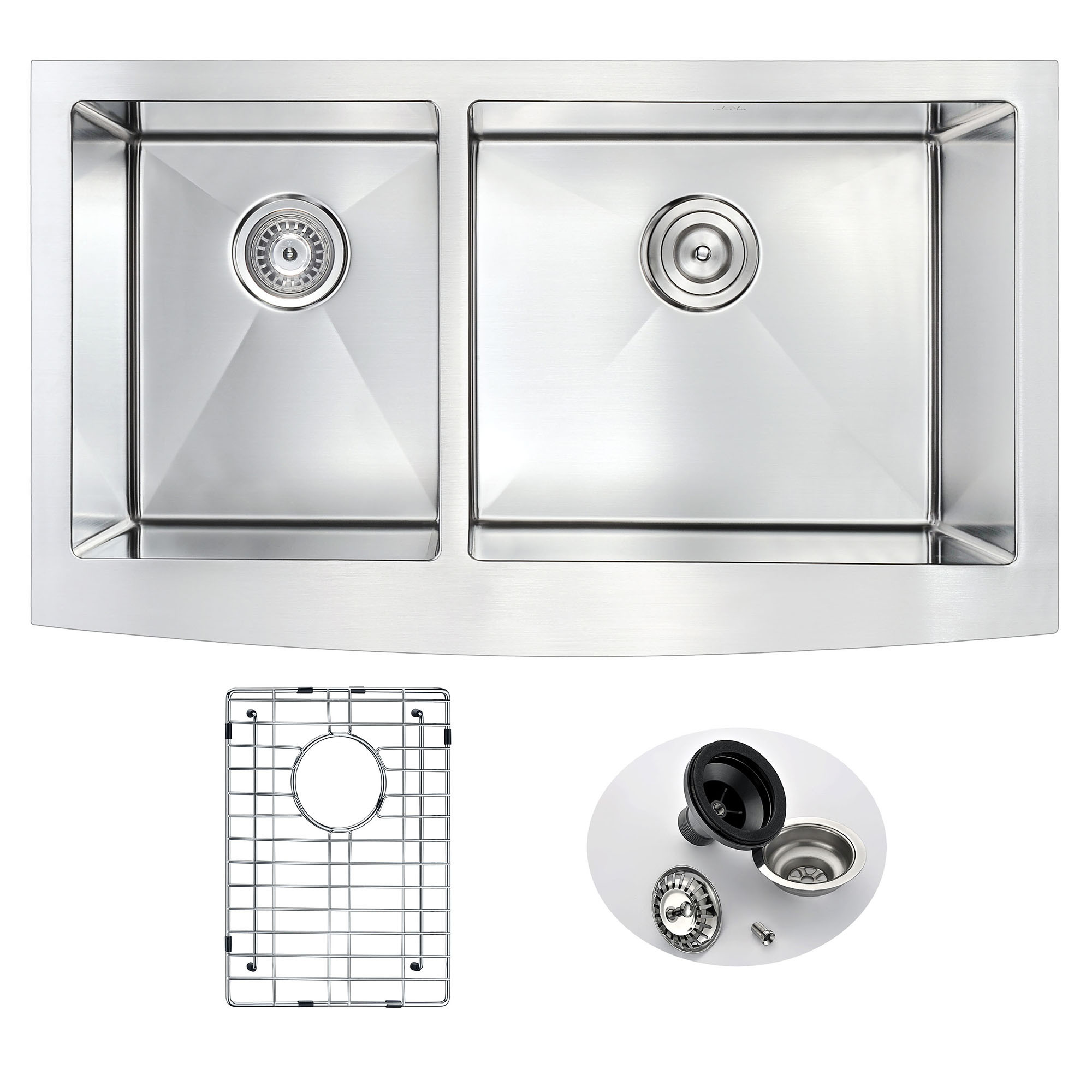 "ANZZI K-AZ3620-3B Elysian 36"" Farm House Dual Basin Handmade Kitchen Sink"