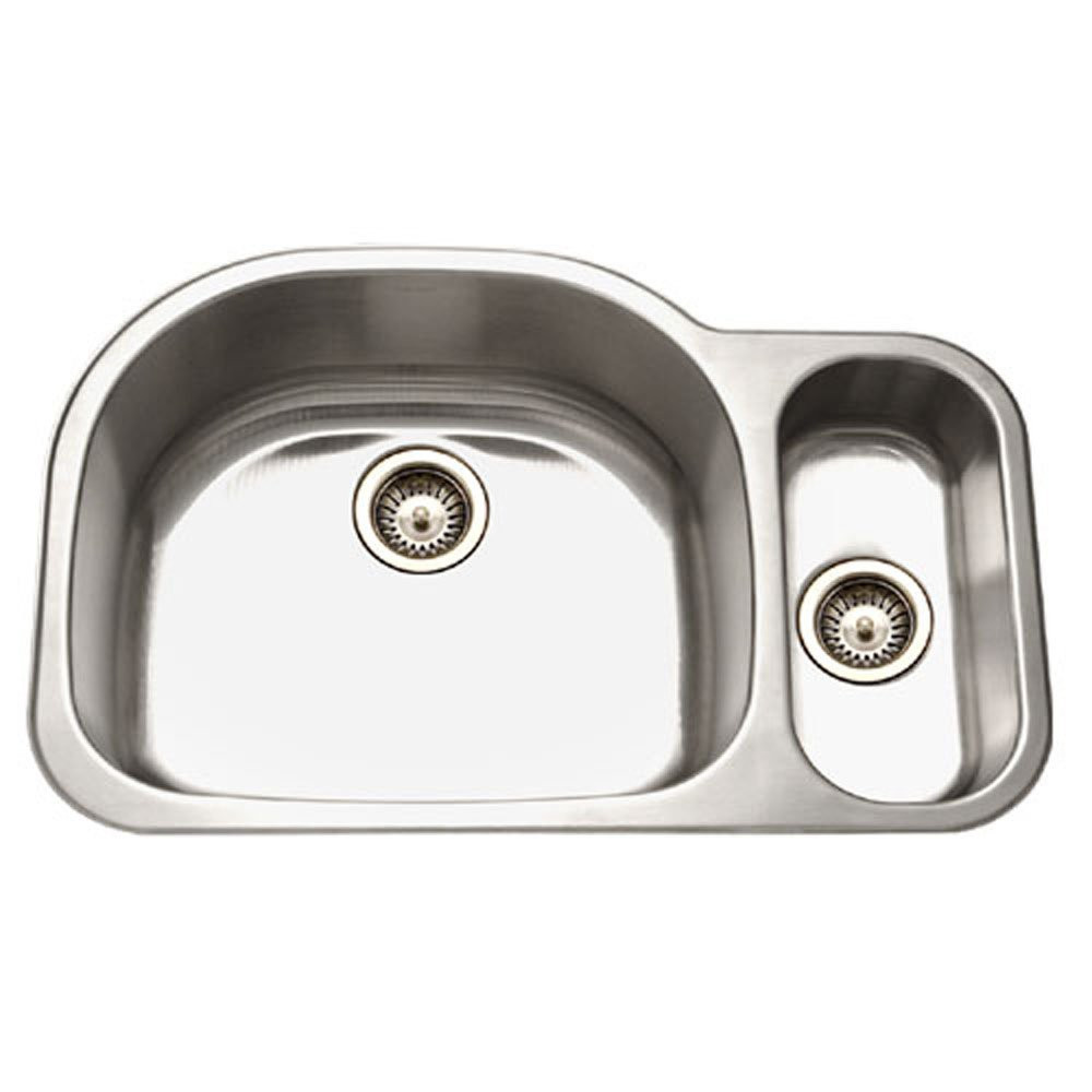 Houzer MG-3209SR-1 Undermount Stainless Steel 70/30 Double Bowl Kitchen Sink - Small Bowl Right
