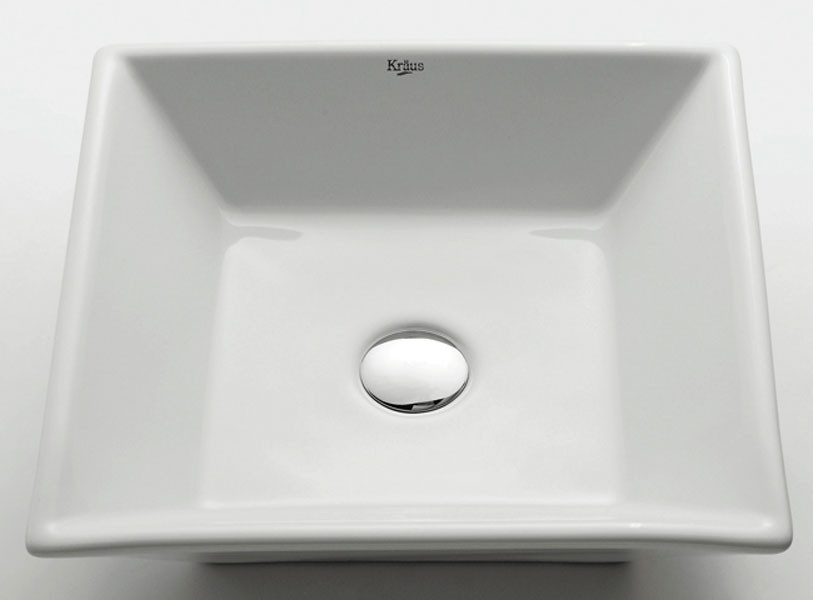 Kraus KCV-125 17''. Squared Smooth Ceramic Vessel Sink
