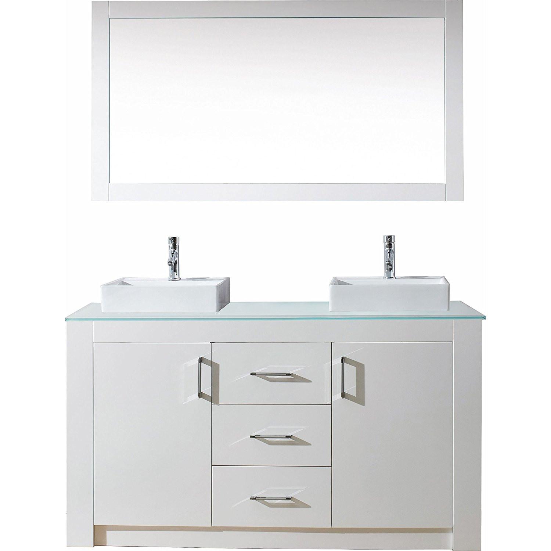 Virtu KD-60060-G-GW Tavian 60 Inch Double Bathroom Vanity Set In Gloss White