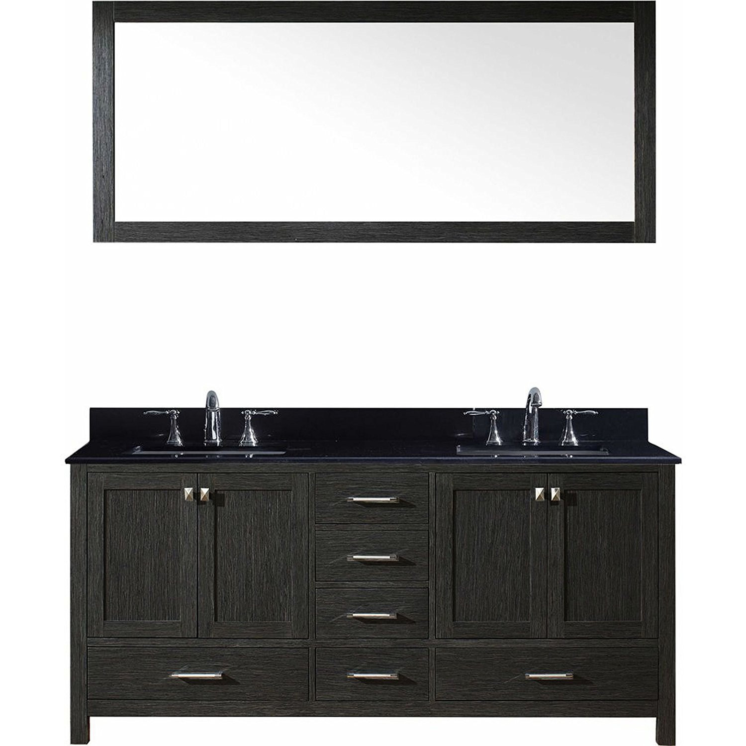Virtu KD-60072-BGSQ-ZG Caroline Premium 72 Inch Double Bathroom Vanity Set In Zebra Grey