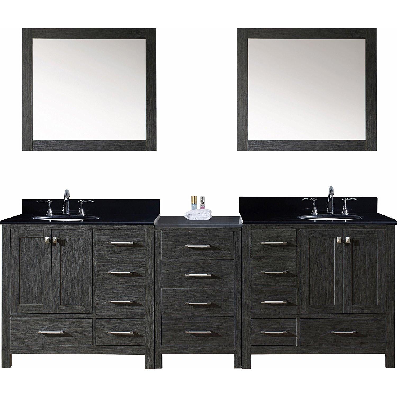 Virtu KD-60090-BGRO-ZG Caroline Premium 90 Inch Double Bathroom Vanity Set In Zebra Grey