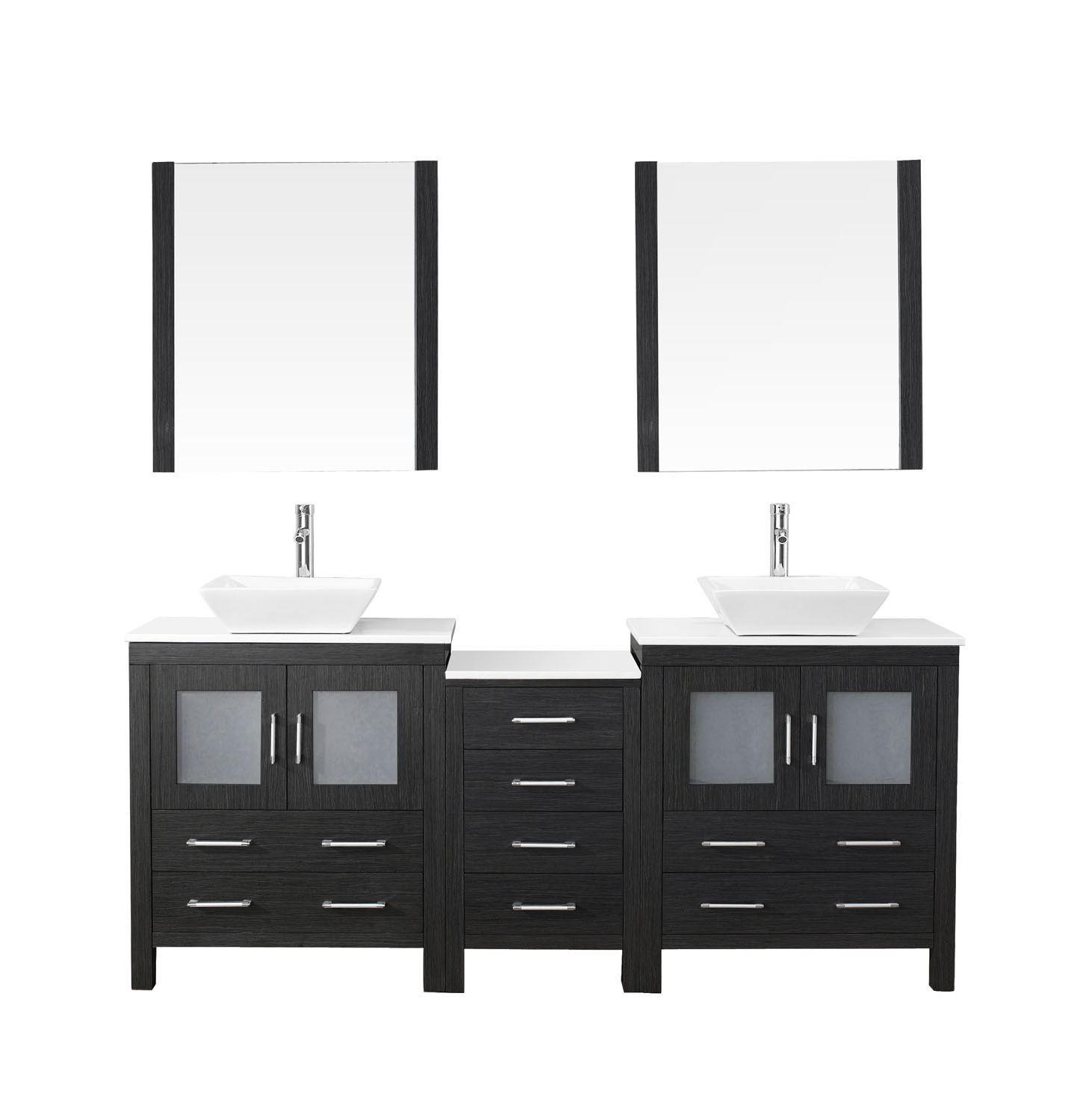 Virtu KD-70078-S-ZG-001 Dior 78 Inch Double Bathroom Vanity Set In Zebra Grey