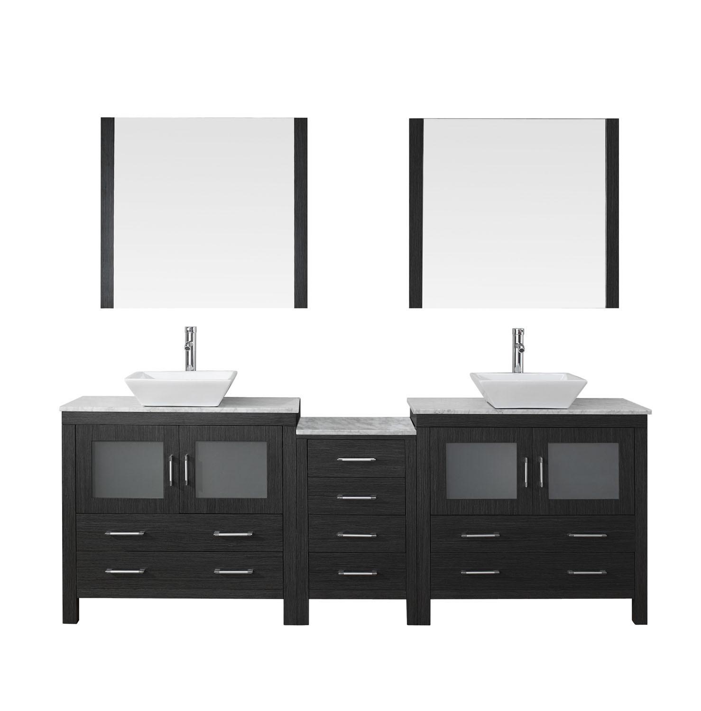 Virtu KD-70082-WM-ZG-001 Dior 82 Inch Double Bathroom Vanity Set In Zebra Grey