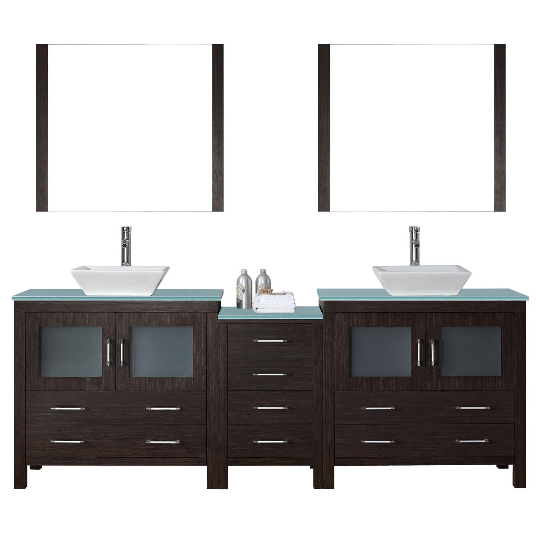 Virtu KD-70090-G-ES Dior 90 Inch Double Bathroom Vanity Set In Espresso