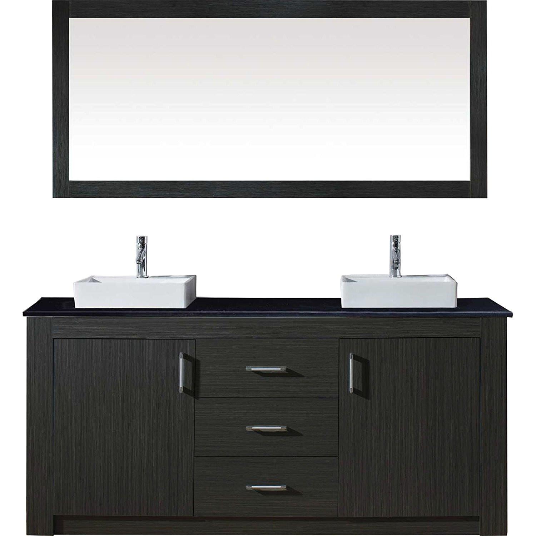 Virtu KD-90060-ZG Tavian 60 Inch Double Bathroom Vanity Set In Zebra Grey