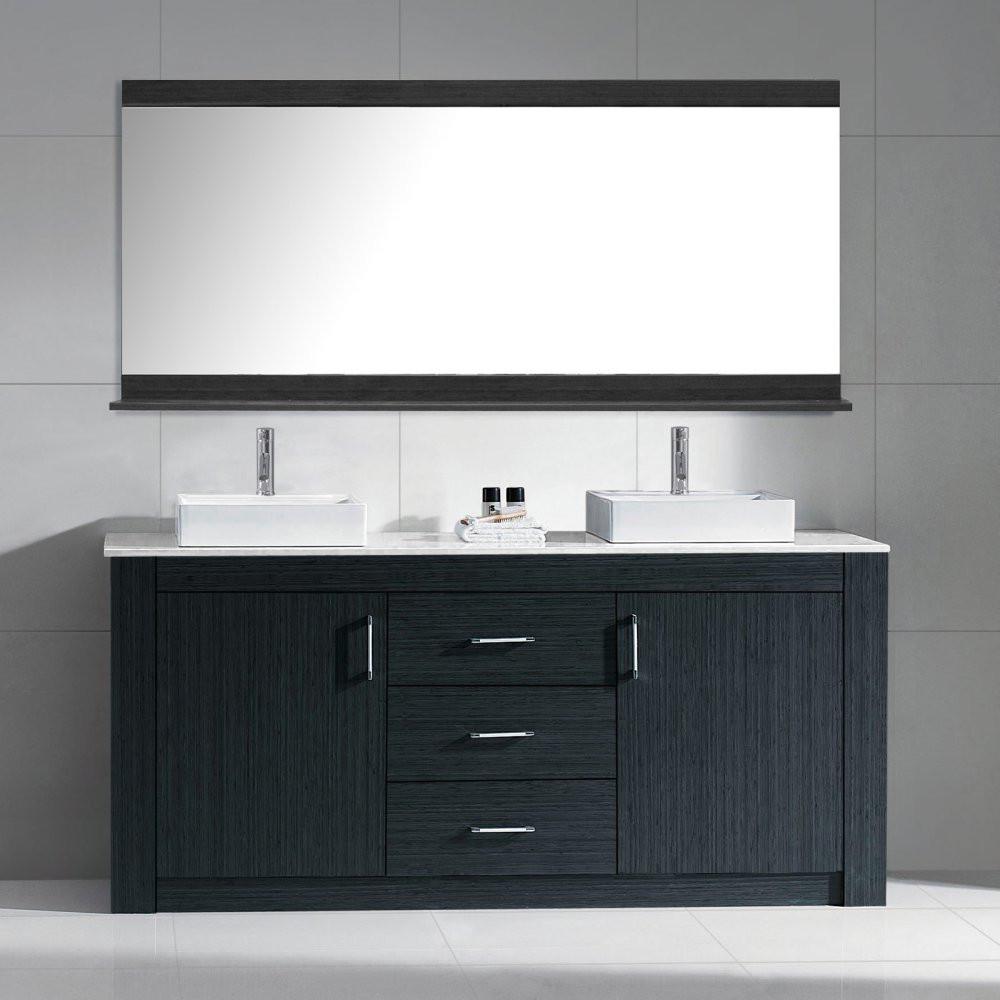 Virtu KD-90060-GQ-ZG Tavian 60 Inch Double Bathroom Vanity Set In Zebra Grey