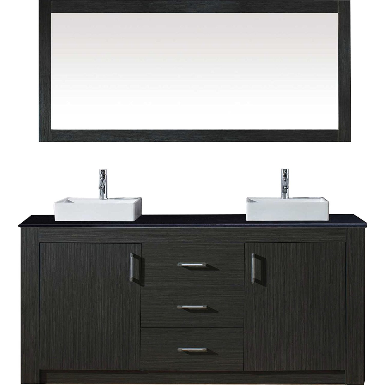 Virtu KD-90072-ZG Tavian 72 Inch Double Bathroom Vanity Set In Zebra Grey
