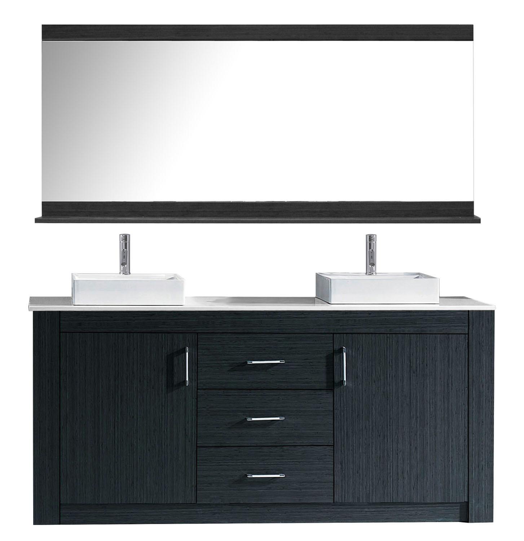 Virtu KD-90072-S-GR Tavian 72 Inch Double Bathroom Vanity Set In Grey