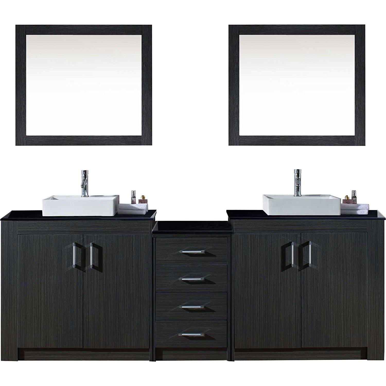 Virtu KD-90090-ZG Tavian 90 Inch Double Bathroom Vanity Set In Zebra Grey