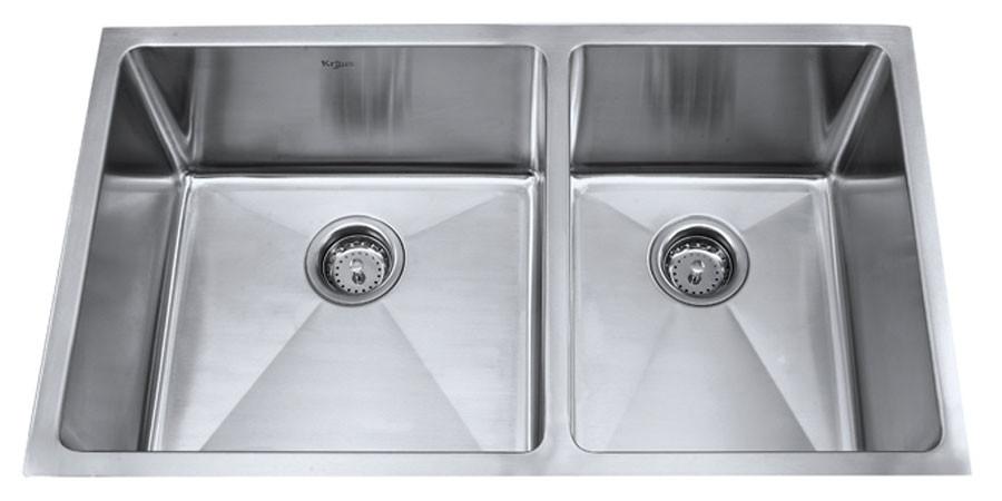 Kraus KHU-103-33 33'' Steel Double Bowl Undermount Sink