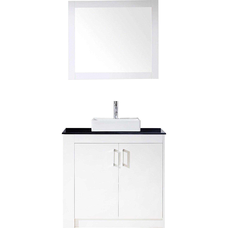 Virtu KS-60036L-GW Tavian 36 Inch Single Bathroom Vanity Set In Gloss White