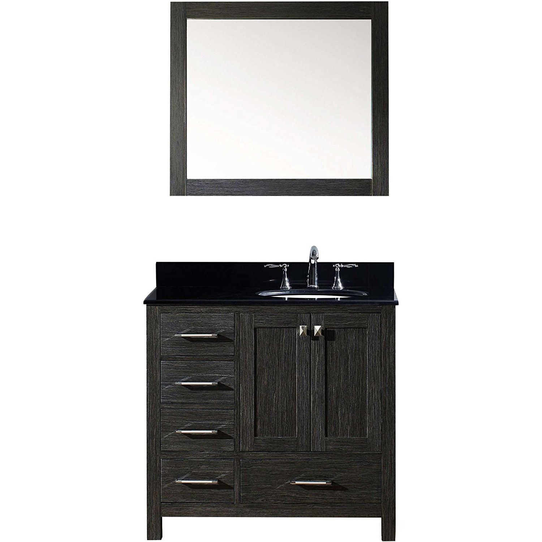 Virtu KS-60036L-BGRO-ZG Caroline Premium 36 Inch Single Bathroom Vanity Set In Zebra Grey