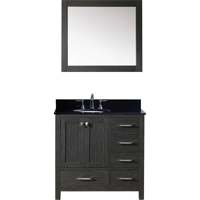 Virtu KS-60036R-..RO-ZG Caroline Premium 36 Inch Single Bathroom Vanity Set In Zebra Grey