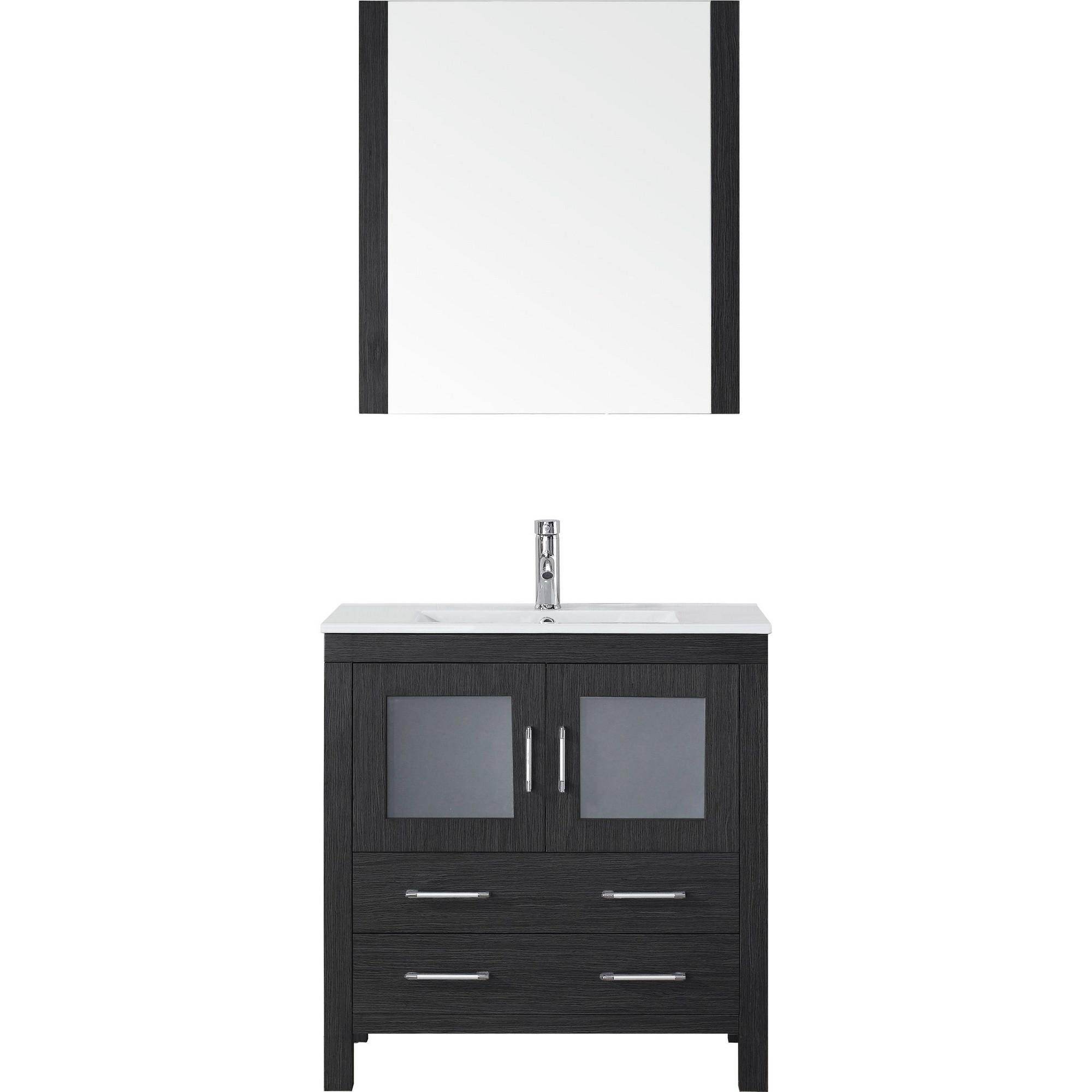 Virtu KS-70032-C-ZG Vanity Set in Zebra Grey with Ceramic Countertop
