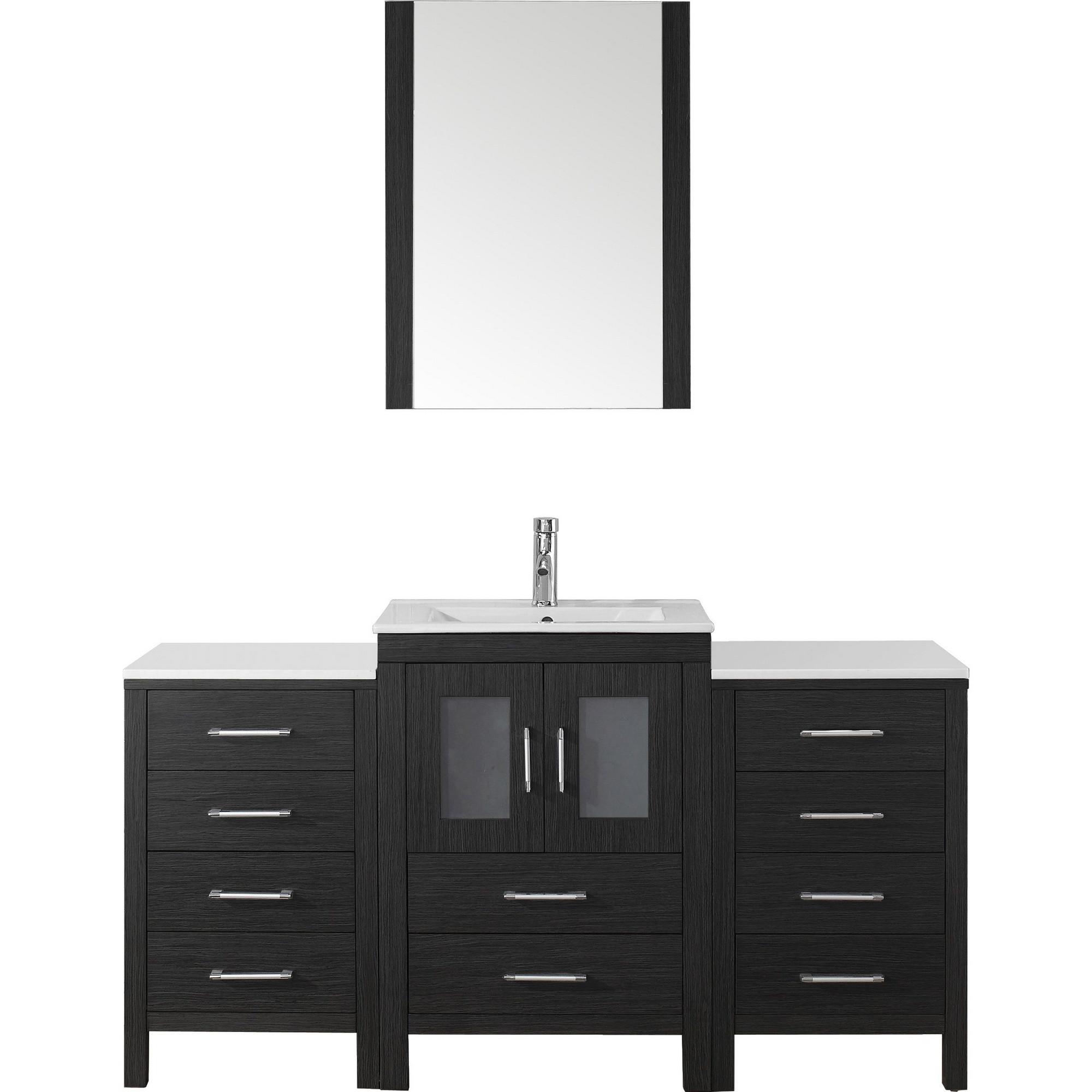 Virtu KS-70060-C-ZG Vanity Set in Zebra Grey with Ceramic Countertop