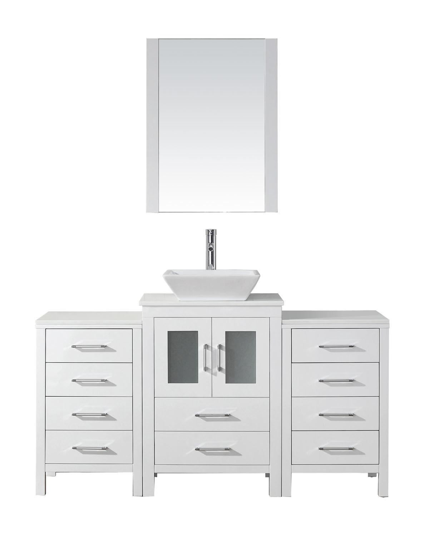 Virtu KS-70060-S-WH-001 Dior 60 Inch Single Bathroom Vanity Set In White