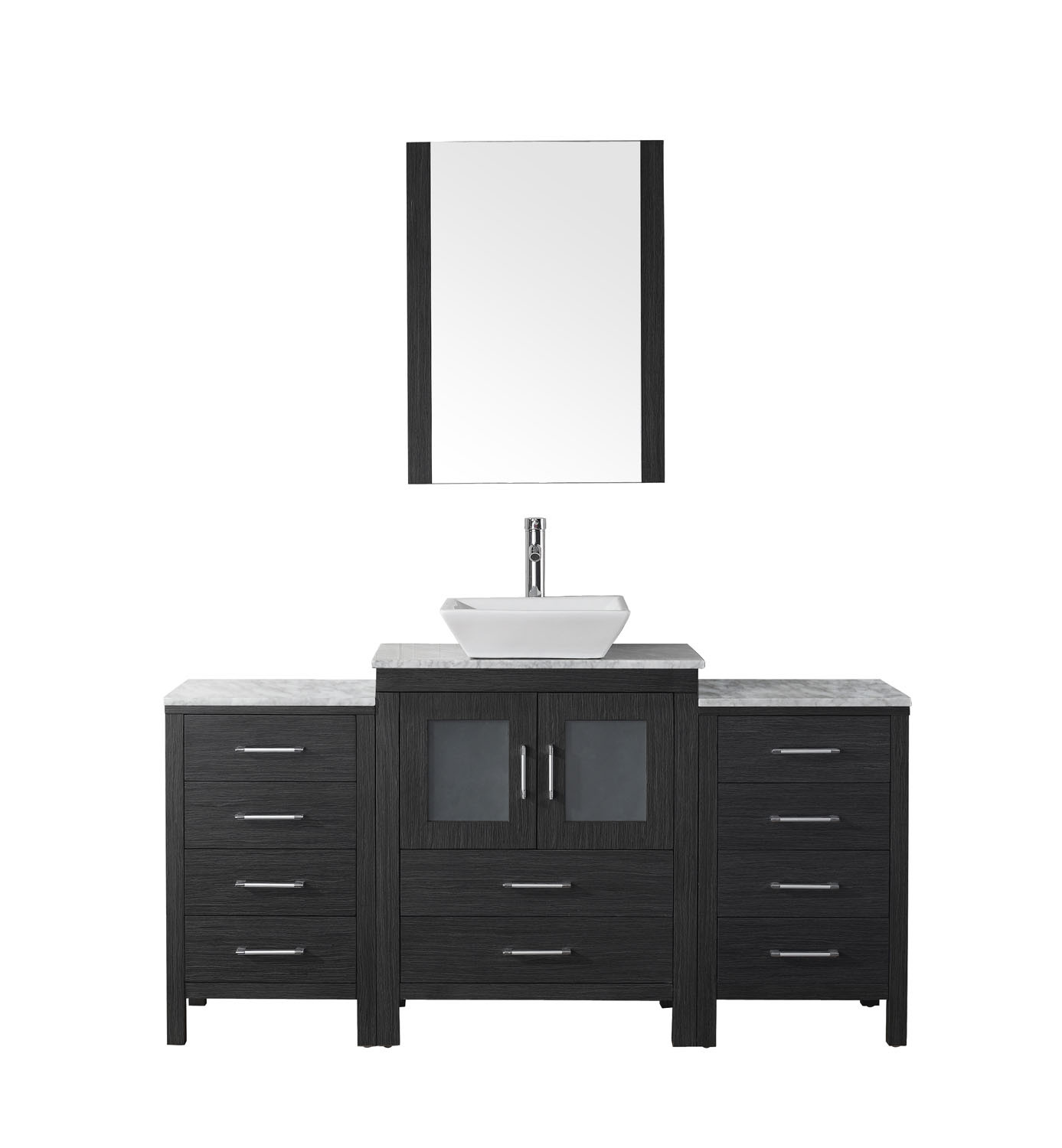 Virtu KS-70060-WM-ZG-001 Dior 60 Inch Single Bathroom Vanity Set In Zebra Grey