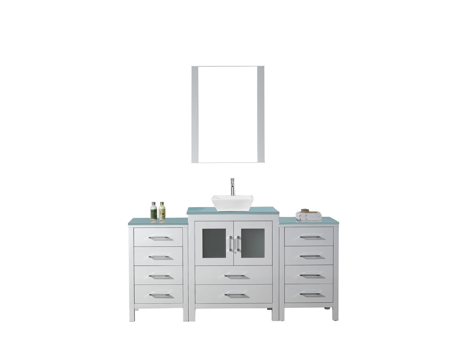 Virtu KS-70064-G-WH-001 Dior 64 Inch Single Bathroom Vanity Set In White