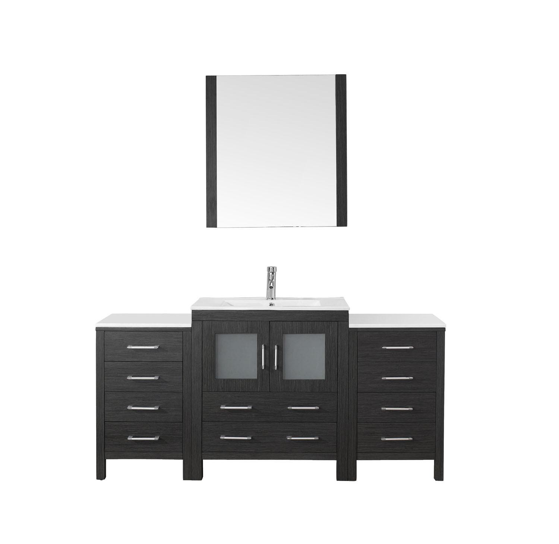 Virtu KS-70066-C-ZG-001 Dior 66 Inch Single Bathroom Vanity Set In Zebra Grey
