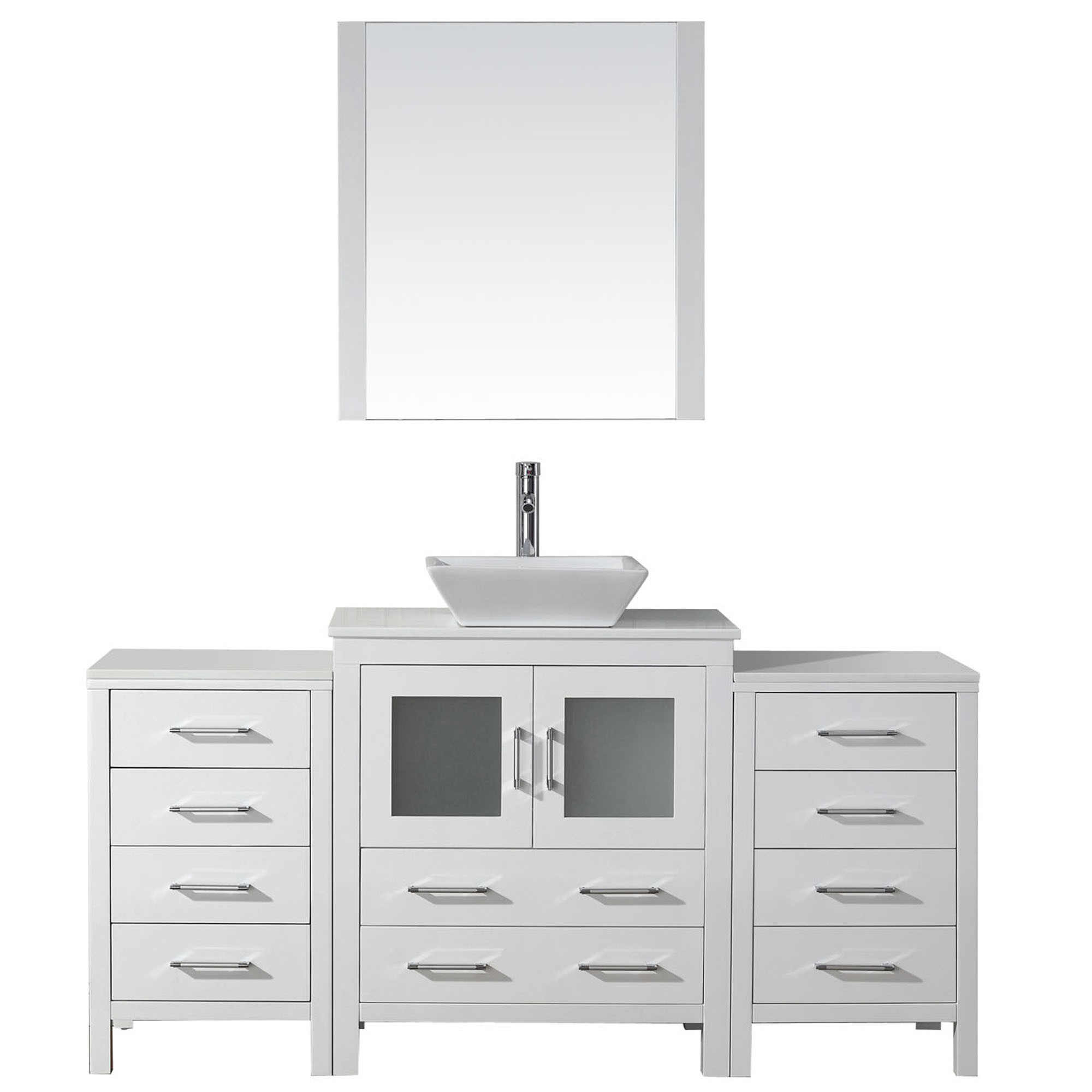 Virtu KS-70066-WM-WH-001 Dior 66 Inch Single Bathroom Vanity Set In White