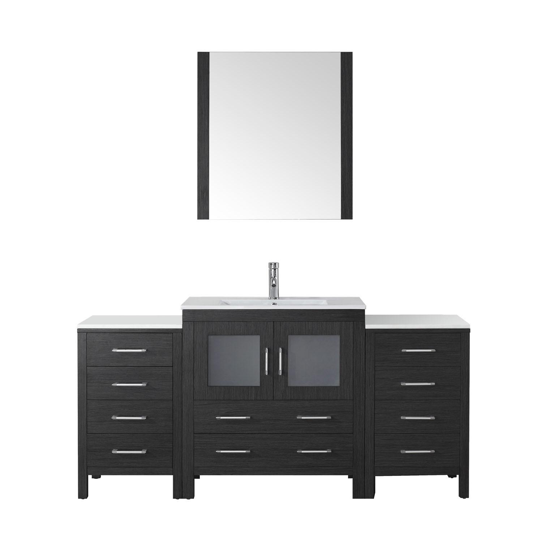 Virtu KS-70068-C-ZG-001 Dior 68 Inch Single Bathroom Vanity Set In Zebra Grey