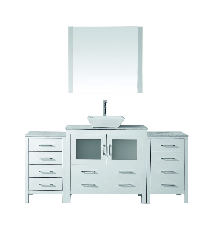 Virtu KS-70068-WM-WH-001 Dior 68 Inch Single Bathroom Vanity Set In White