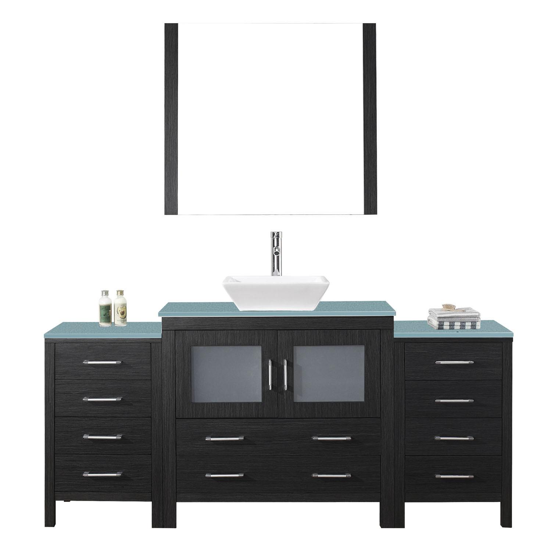 Virtu KS-70072-G-ZG Dior 72 Inch Single Bathroom Vanity Set In Zebra Grey