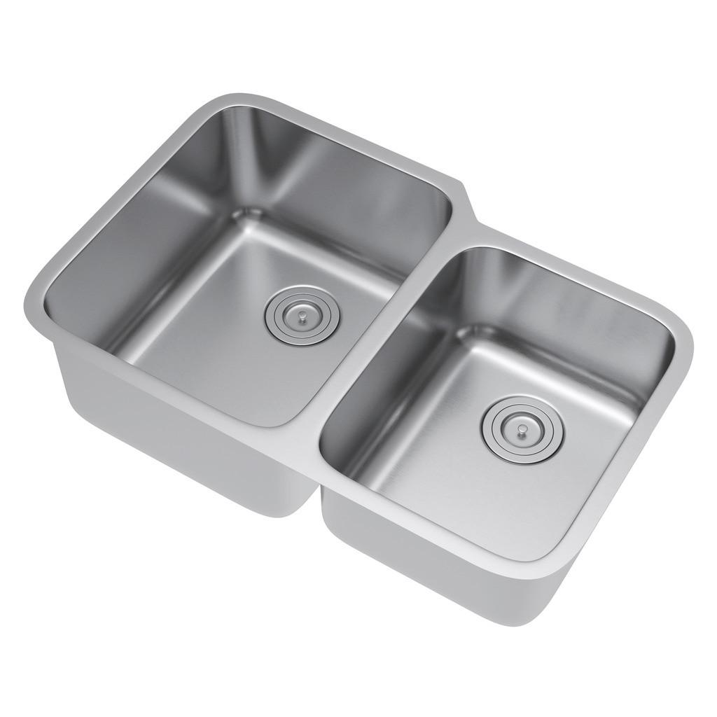 Exclusive Heritage KSD-3221-D6-UAS 60/40 Stainless Kitchen Sink w/ Strainer
