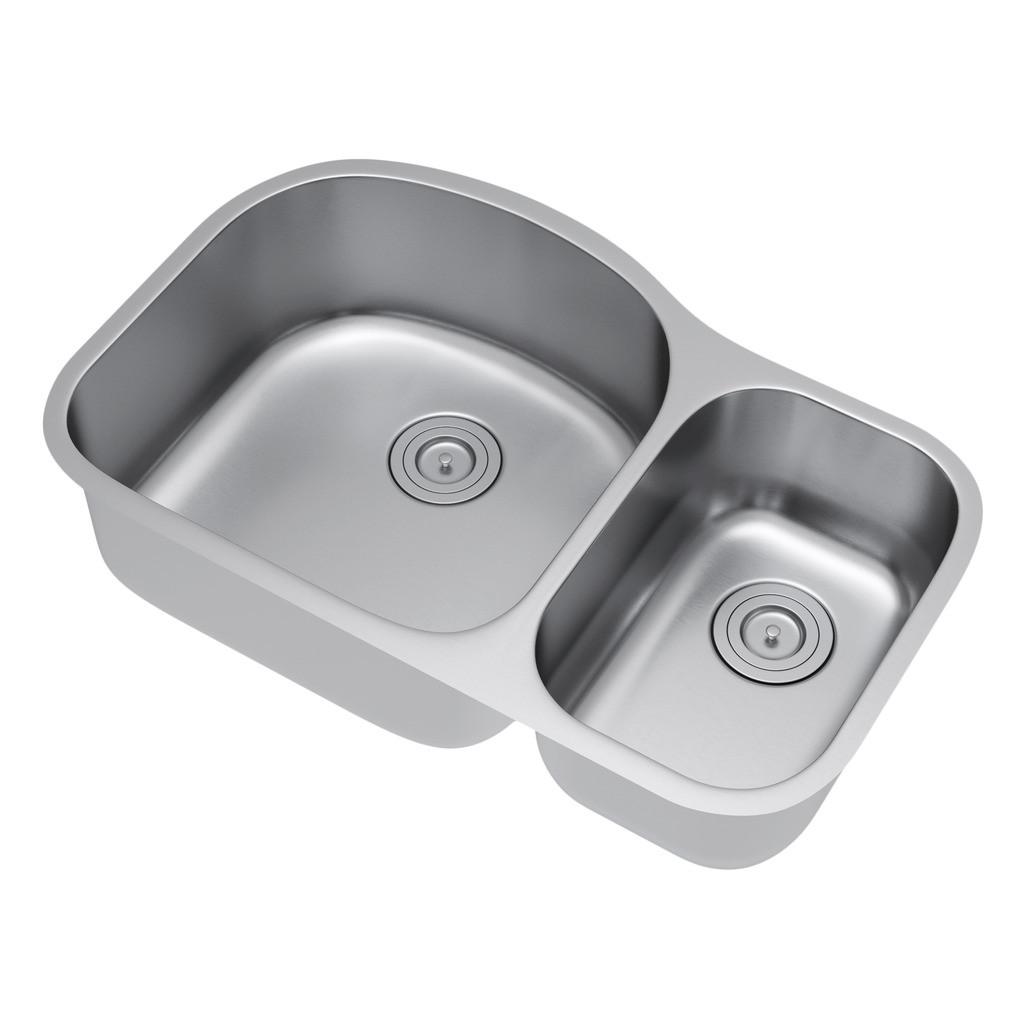 Exclusive Heritage KSD-3221-D7-UBS 70/30 Stainless Kitchen Sink w/ Strainer