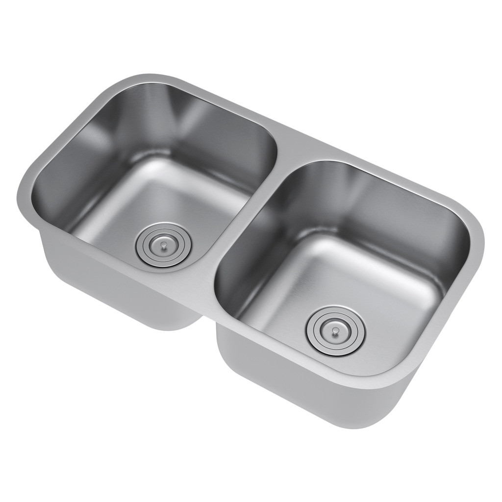 Exclusive Heritage KSD-3318-D5-UBS Double Bowl Kitchen Sink With Strainer