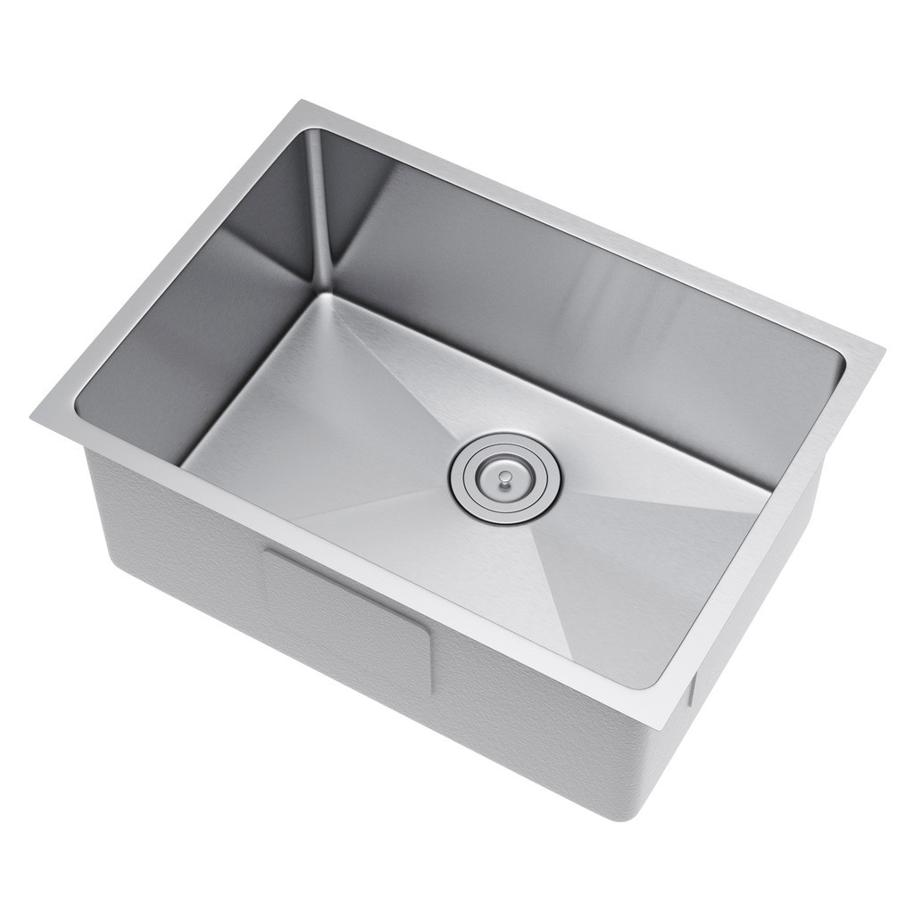 Exclusive Heritage KSH-2518-S-UBS Single Stainless Kitchen Sink w/ Strainer