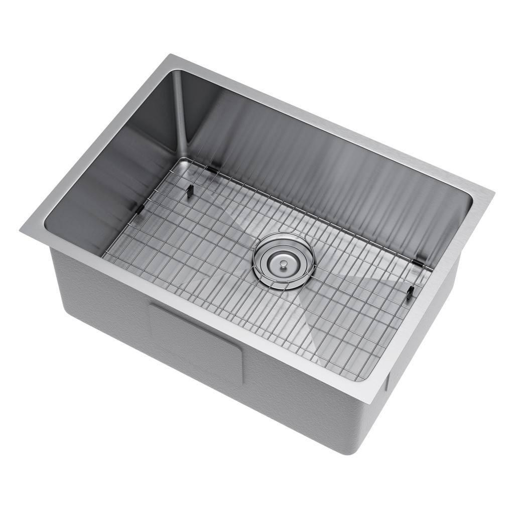 Exclusive Heritage KSH-2518-S-UBSG Single Kitchen Sink w/ Strainer and Grid