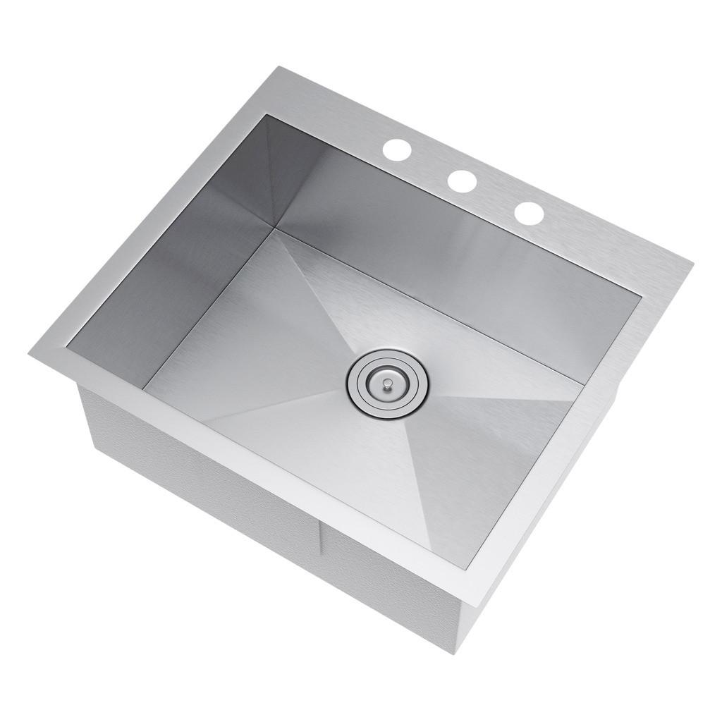 Exclusive Heritage KSH-2522-S-TAS Single Stainless Kitchen Sink w/ Strainer