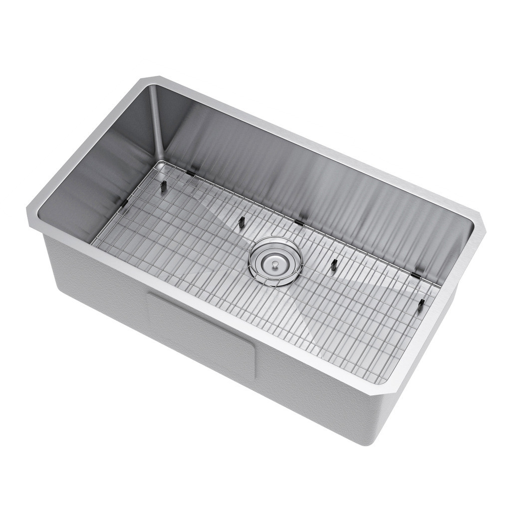 Exclusive Heritage KSH-3018-S-UBSG Single Kitchen Sink w/ Strainer and Grid