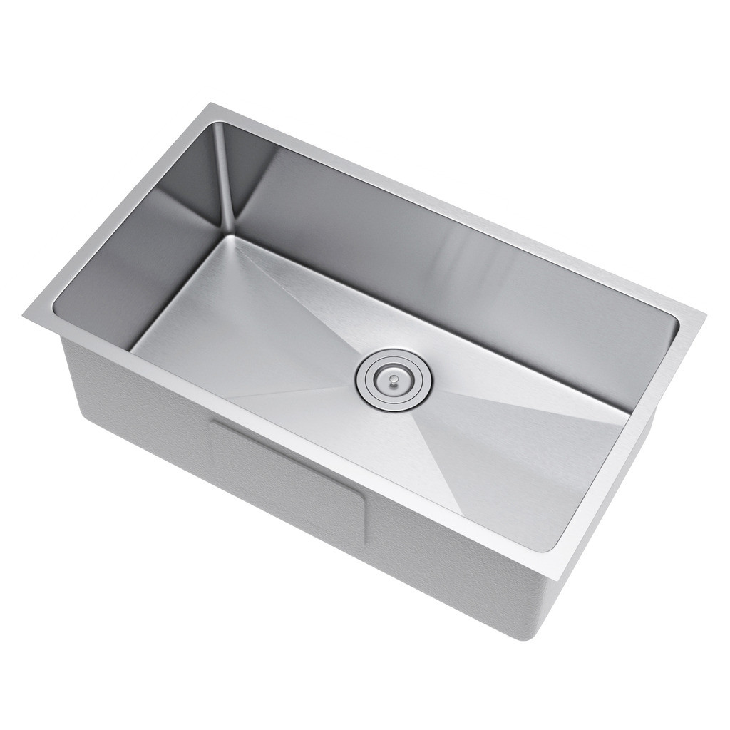 Exclusive Heritage KSH-3019-S-UBS Single Stainless Kitchen Sink w/ Strainer