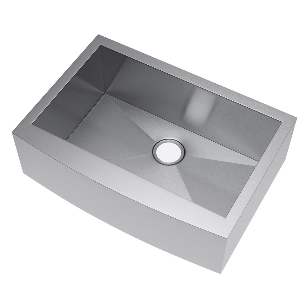 Exclusive Heritage KSH-3021-S-FA Single Stainless Kitchen Apron Front Sink