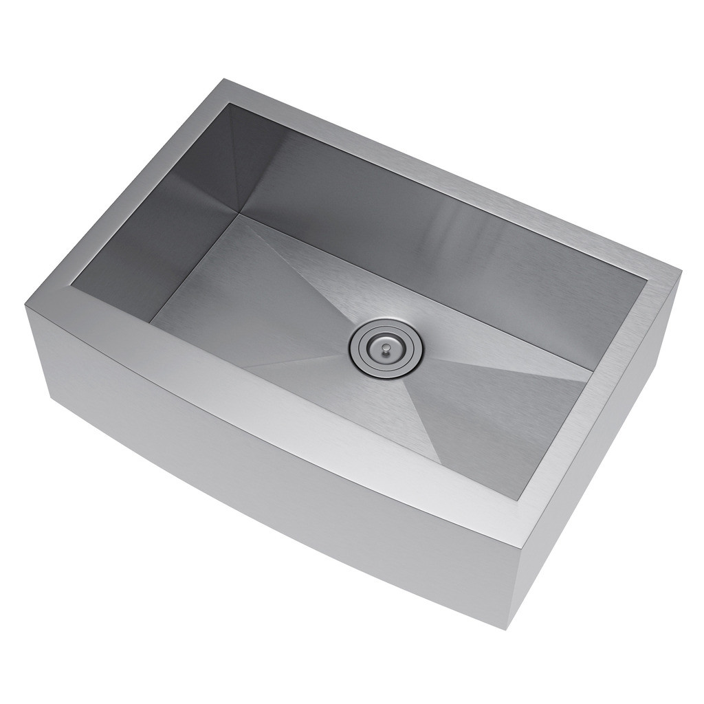Exclusive Heritage KSH-3021-S-FAS Single Stainless Farm Sink with Strainer
