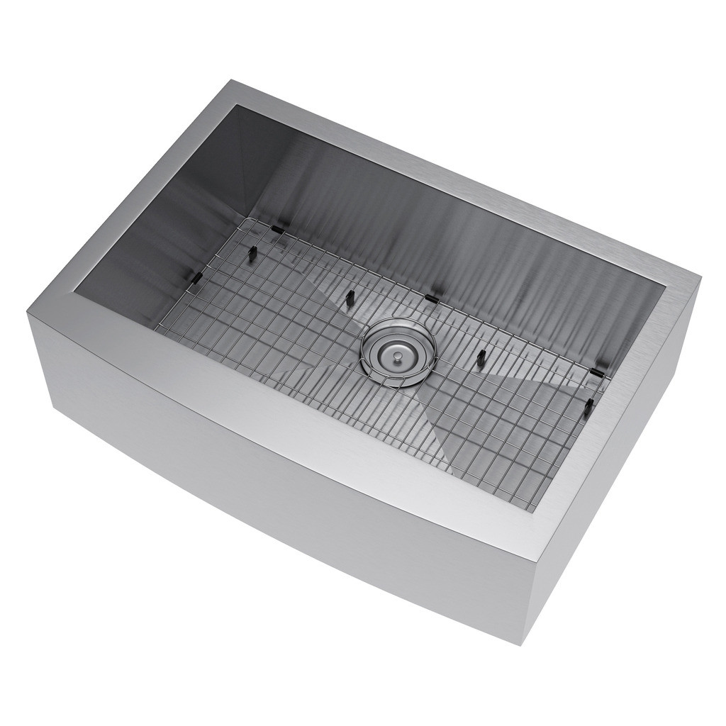 Exclusive Heritage KSH-3021-S-FASG Stainless Farm Sink w/ Strainer and Grid