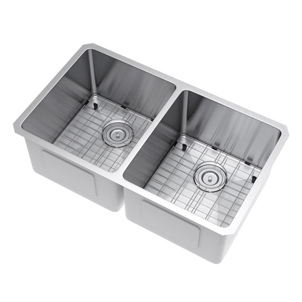 Exclusive Heritage KSH-3118-D5-UBSG Double Kitchen Sink w/ Strainer & Grid