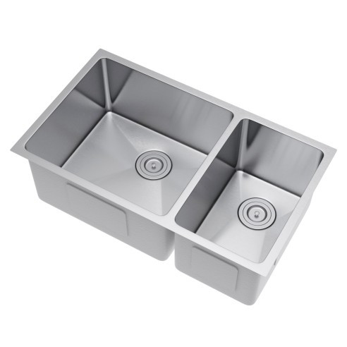 Exclusive Heritage KSH-3118-D7-UBS 70/30 Stainless Kitchen Sink w/ Strainer