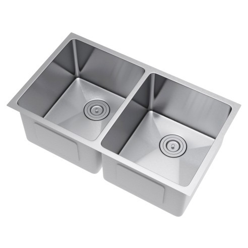Exclusive Heritage KSH-3219-D5-UBS 50/50 Stainless Kitchen Sink w/ Strainer