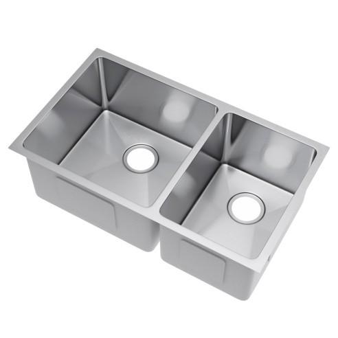Exclusive Heritage KSH-3219-D6-UB 60/40 Undermount Stainless Kitchen Sink
